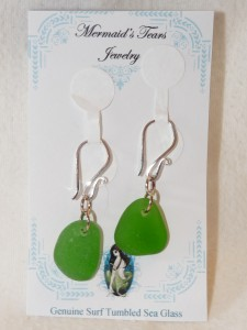 Mermaids Tears Seaglass Earings - 2013 Green
