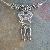Catch of the Day Necklace on Antique Silver Plated Pewter on Surgical Steel Wire- By Feifish