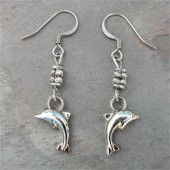 Silver Dolphin Earrings - By Feifish