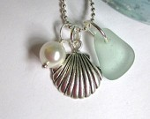 Seafoam Beach Glass Sterling Plated Shell Necklace -107