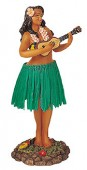 """Leilani Dashboard Dolls with Green Skirt - Girl with Ukulele @ 7"""" H"""