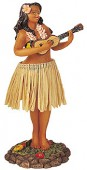 """Leilani Dashboard Dolls with Natural Skirt - Girl with Ukulele @ 7"""" H"""