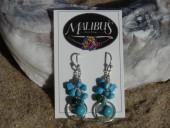 Malibu's Turquoise Circle Cluster Dangle Earrings- By Studio S