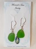 Mermaids Tears Seaglass Earings - 2013 Green