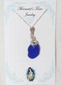 Mermaids Tears Seaglass seahorse Pendant - 1030 Cobalt Blue