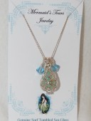 Mermaids Tears Seaglass Necklace Pendant - 4002 blue
