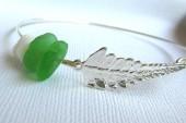 Beach Leaf Bracelet Seaglass Bangle-110