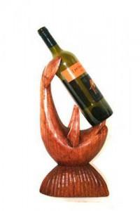 Hand carved wooden Dolphin Wine Bottle Holder