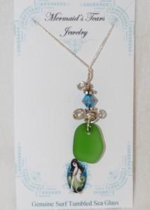 Mermaids Tears Seaglass Necklace Pendant - 1035 Green