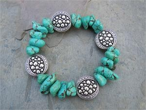 Turquoise Howlite Bracelet with Silver Plated Pewter Bali Beads