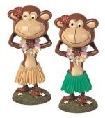 "Poly Resin Bobble Head Dolls - Posing Hula Monkey @ 6.5"" H"
