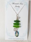 Mermaids Tears Seaglass Necklace Pendant - 1002 Green