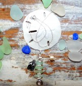 Seaglass 4 Stack Necklace with Sterling wire findings, Pearl and Flip Flop Charm-#117