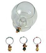 Hawaiian Flower Wine Glass Charms-Set of 4